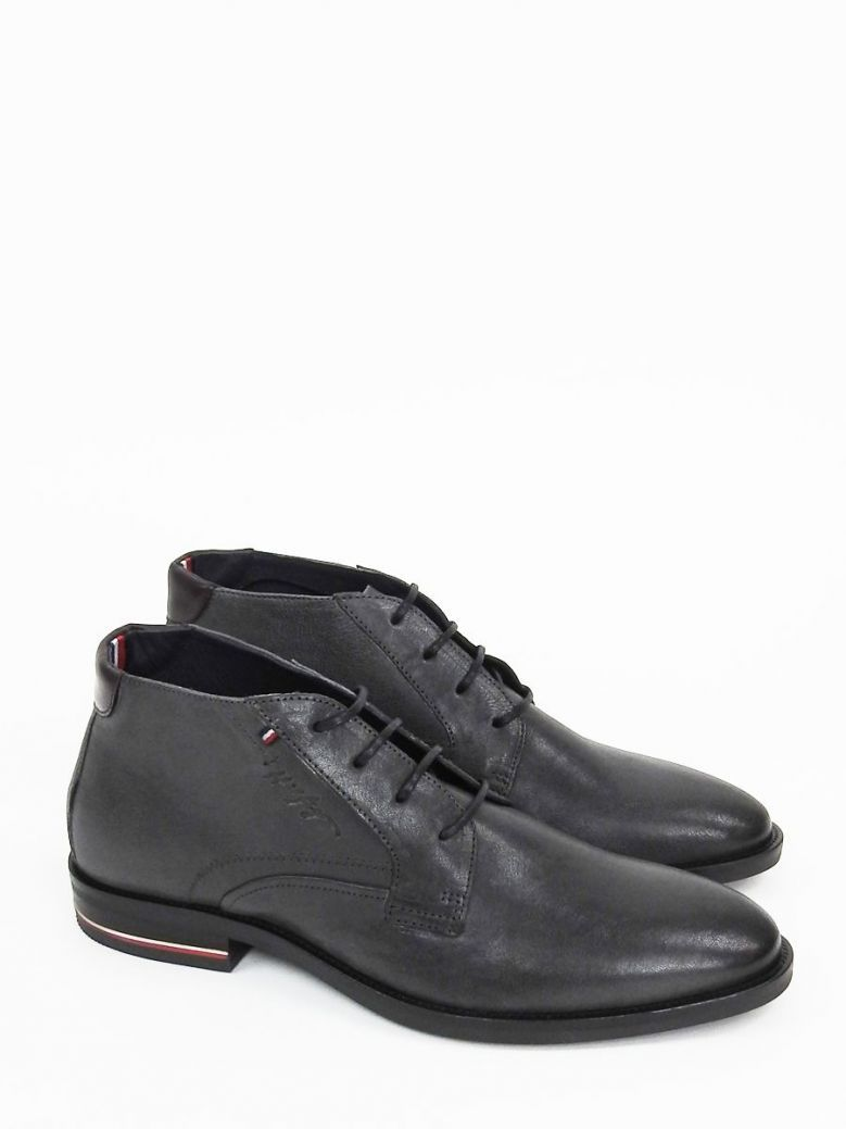 Tommy Hilfiger Mens Dark Ash Signature Logo Smooth Leather Lace-Up Boots