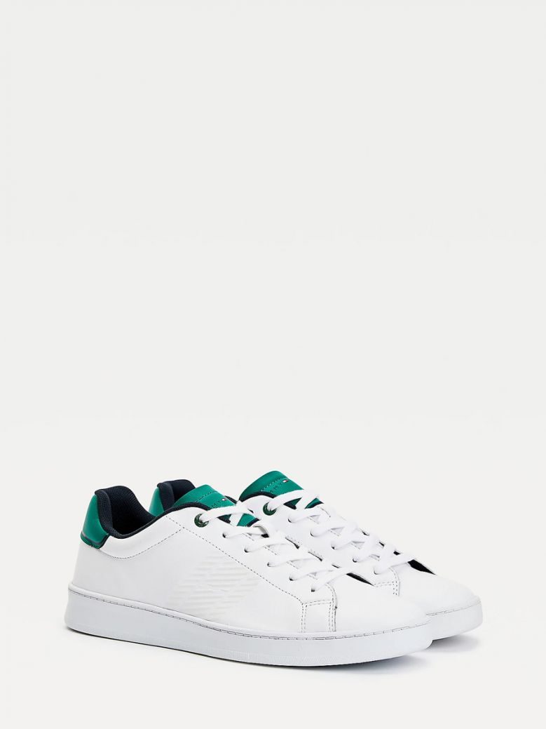 Tommy Hilfiger White Nouveau Green Retro Leather Tennis Trainers