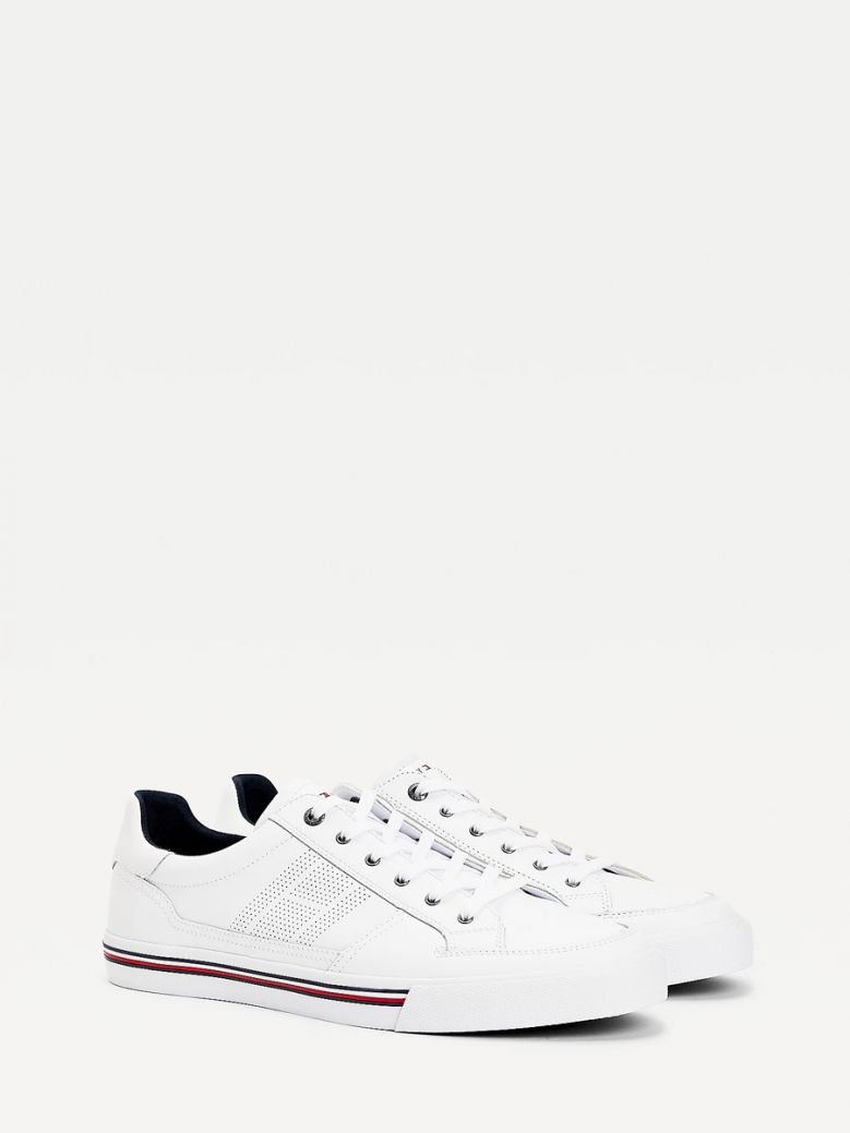 Tommy Hilfiger Men White Signature Outsole Leather Trainers