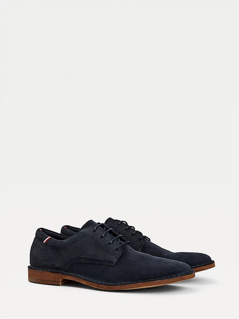 Tommy Hilfiger Mens Navy Lace-Up Suede Shoes