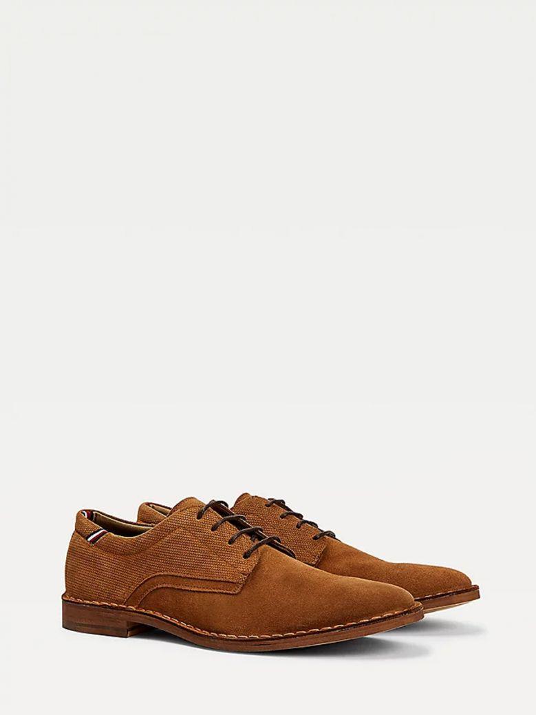 Tommy Hilfiger Mens Desert Khaki Lace-Up Suede Shoes