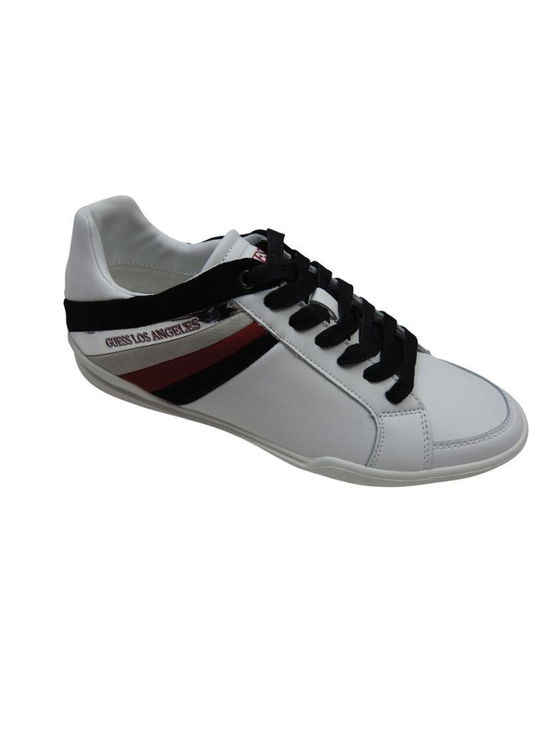 Guess White Side Stripe Lace Up Trainers