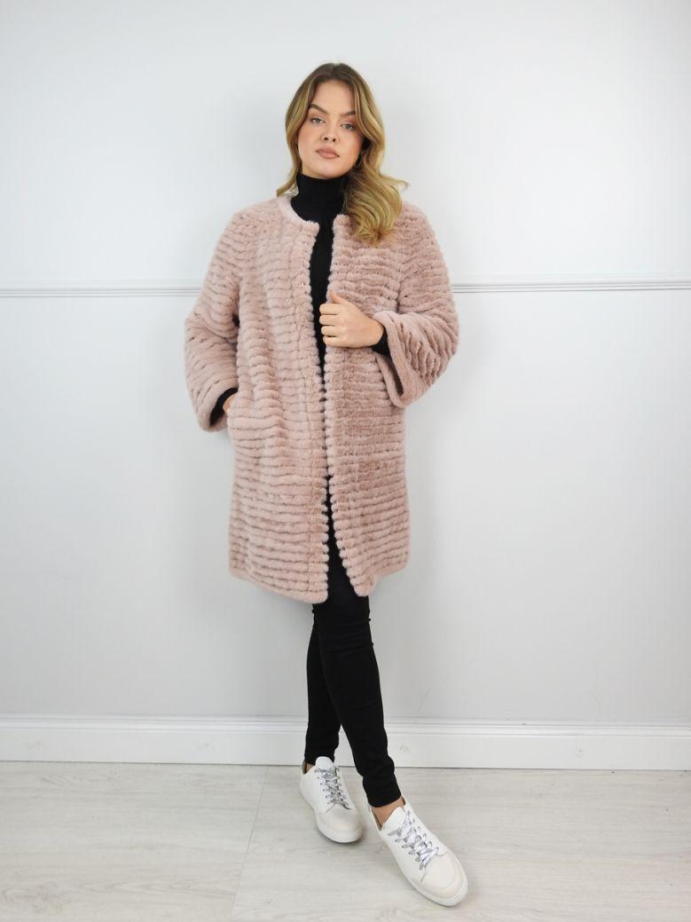 Jayley Pink Round Neck Faux Fur Coat