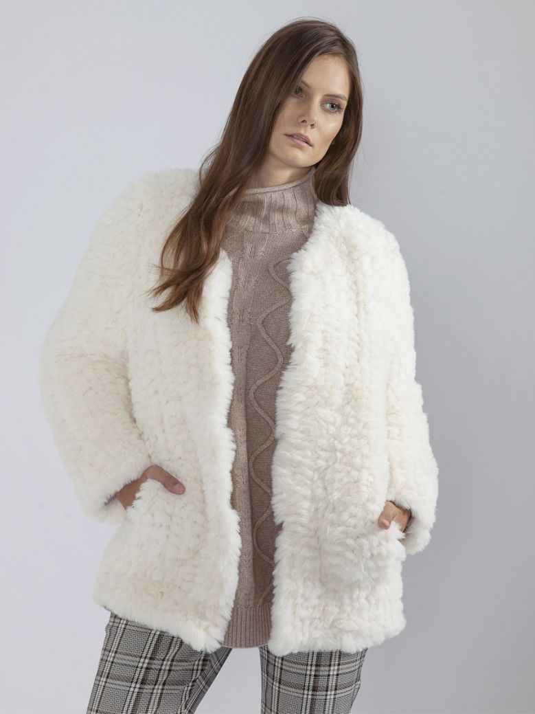 Jayley Cream Hand Knitted Faux Fur Jacket