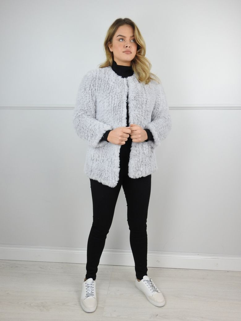 Jayley Grey Hand Knitted Faux Fur Jacket