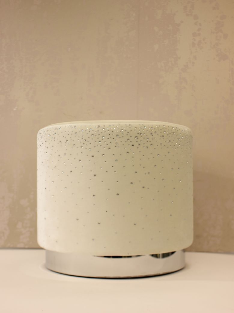 Ivory Round Stool With Sparkle Pattern