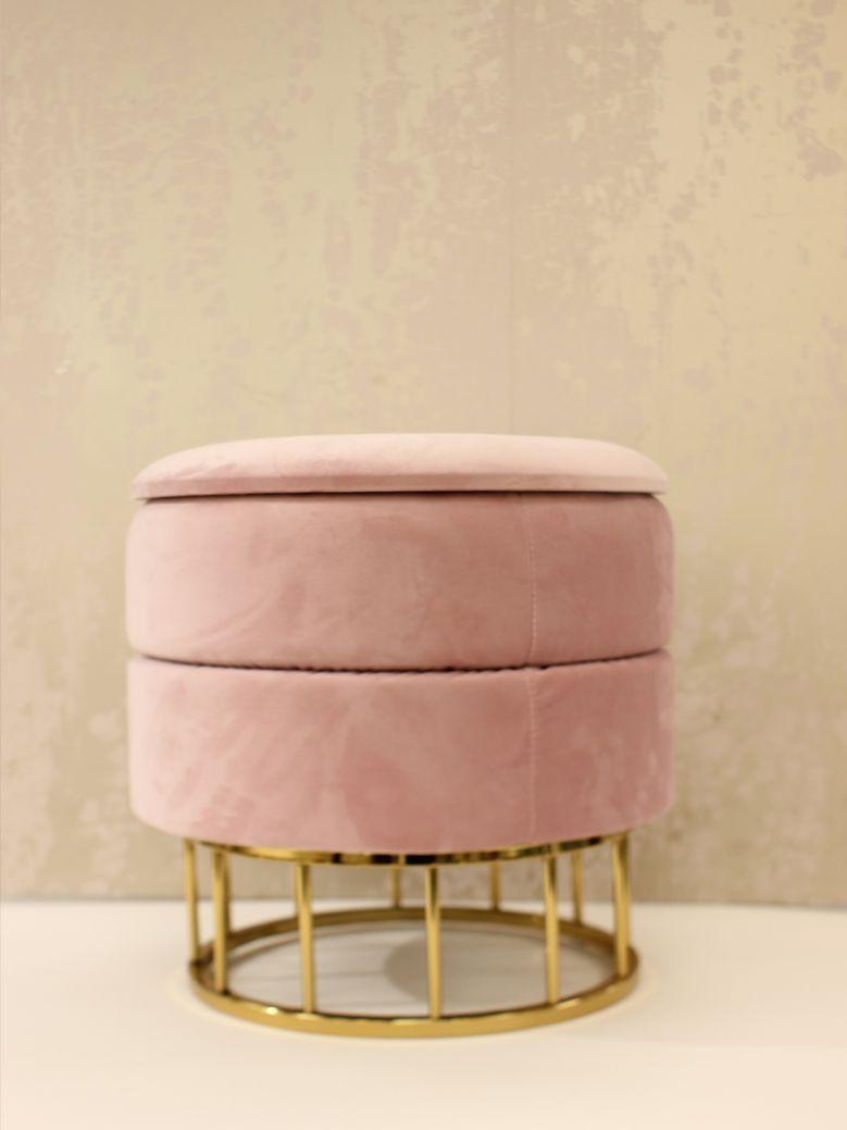 Blush Pink Round Storage Stool