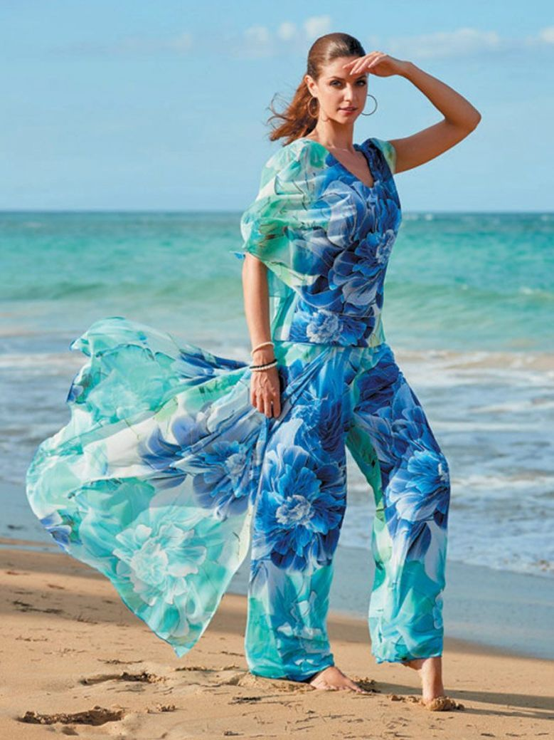 Frank Lyman Printed Chiffon Top and Trouser Suit, Turquoise, Style 176345