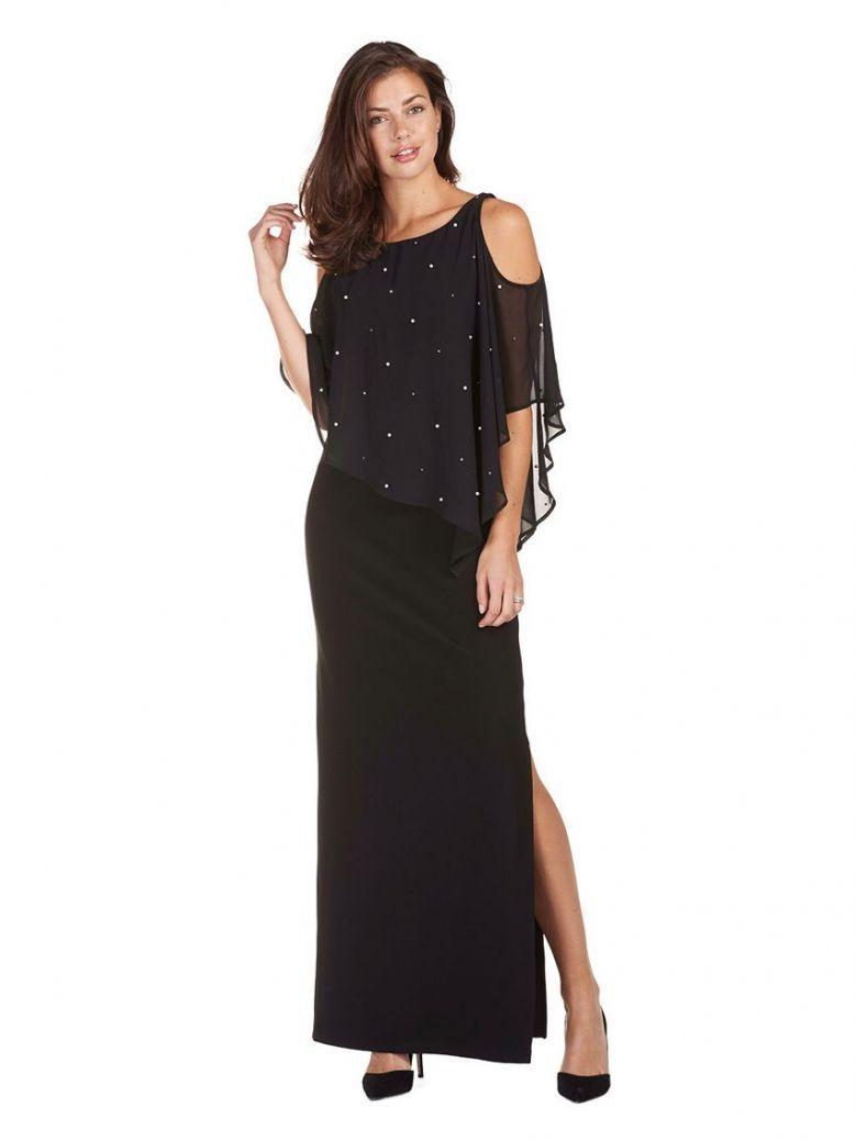 Frank Lyman Pearl Detail Long Dress, Black, Style 189144