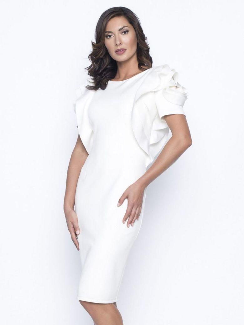 Frank Lyman Ruffle Sleeve Dress, Off White, Style 195443