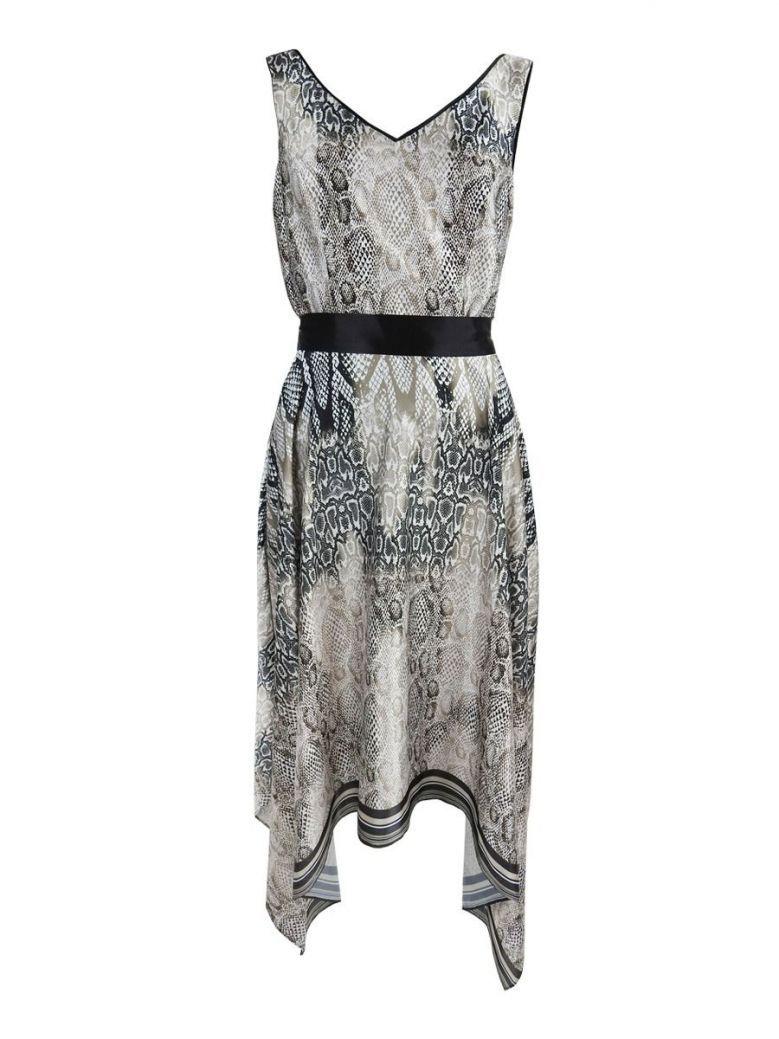 Frank Lyman Snake Print Dress, Black and Nude, Style 196429
