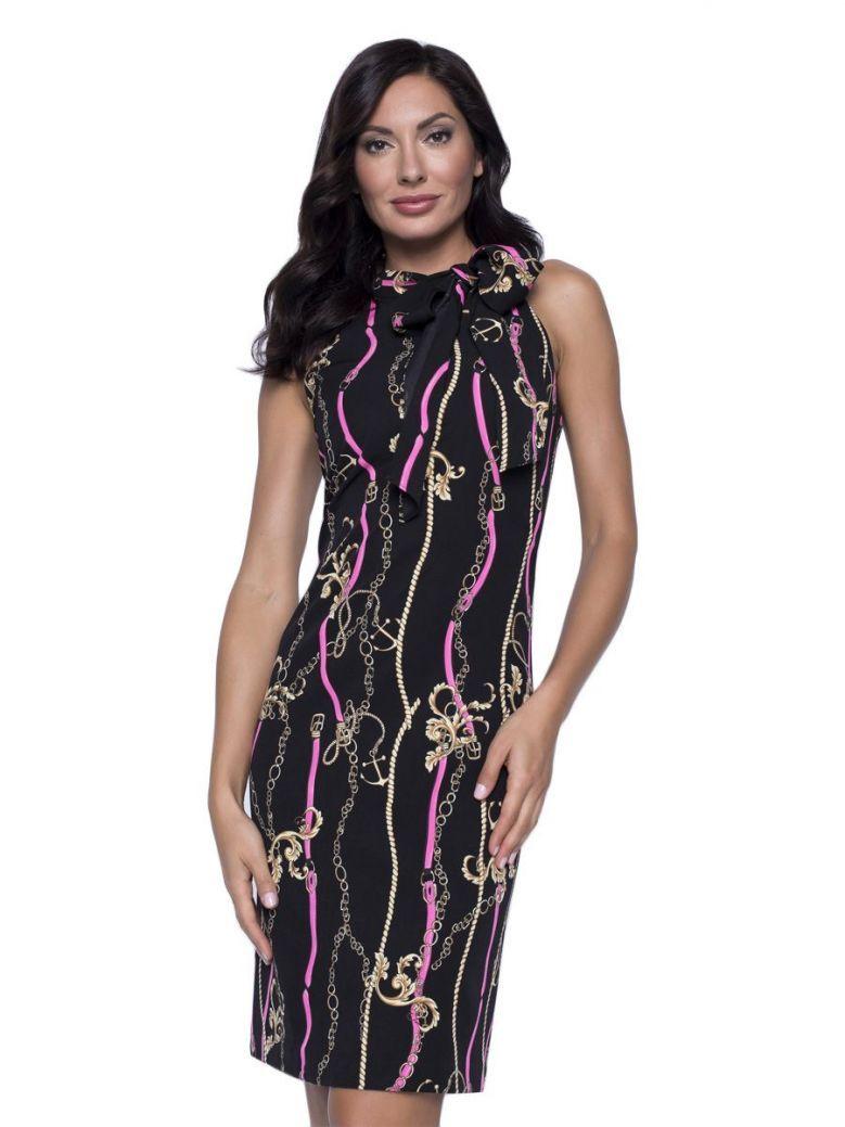 Frank Lyman Chain Print Dress, Black, Style 201453