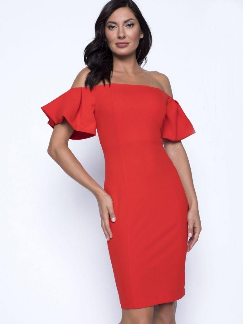 Frank Lyman Off The Shoulder Dress, Cherry Orange, Style 201524