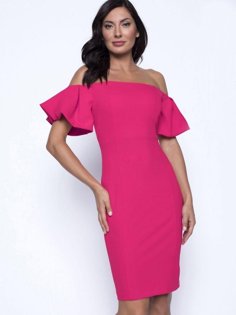 Frank Lyman Off The Shoulder Dress, Neon Pink, Style 201524