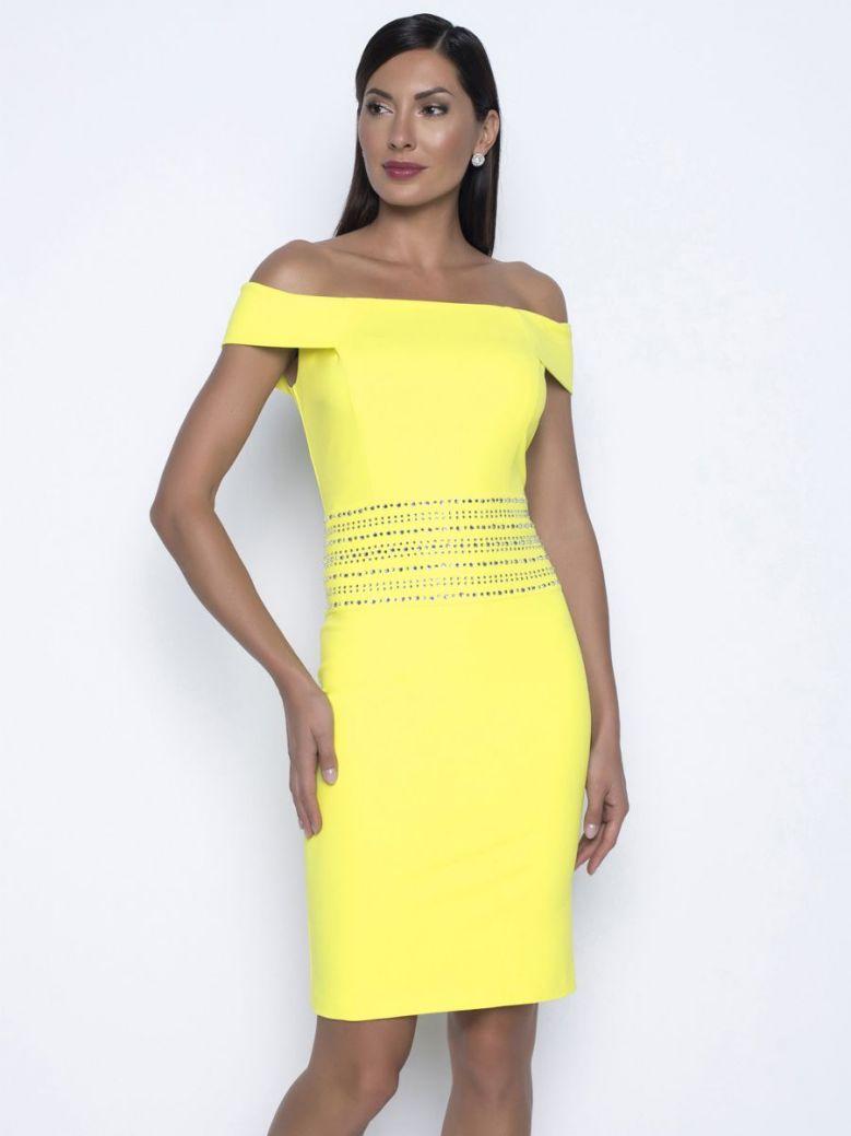 Frank Lyman Embellished Waist Cocktail Dress, Yellow, Style 208243