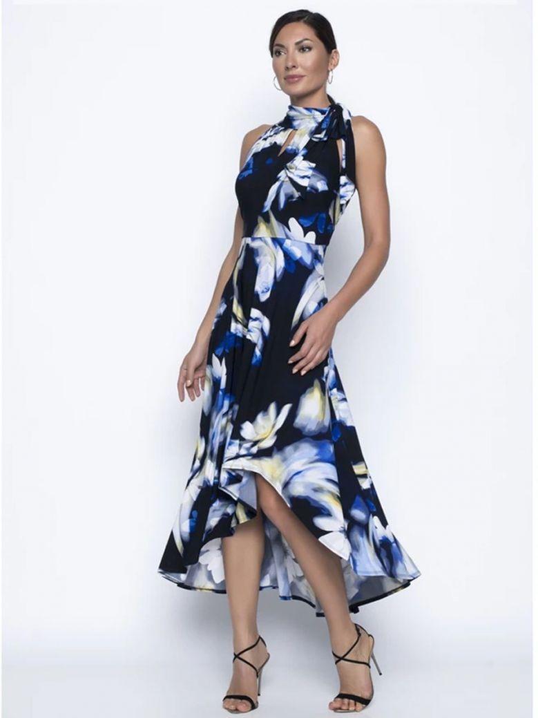 Frank Lyman Floral Print High Neck Dipped Hem Dress, Navy, Style 196429