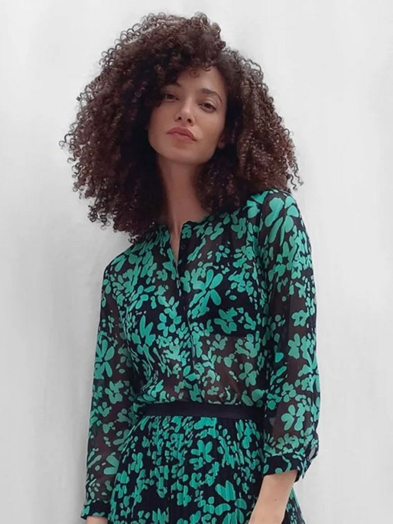 French Connection Floral Crinkle Shirt Palm Green