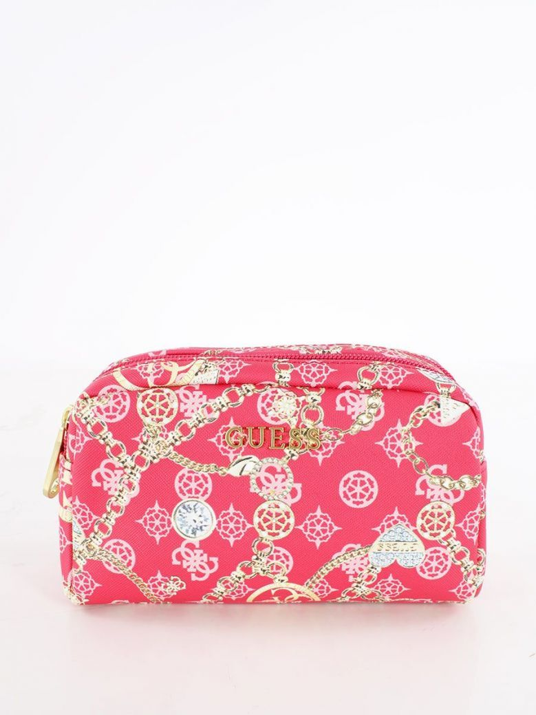 Guess Milene 4G Peony Logo Makeup Bag Fuchsia