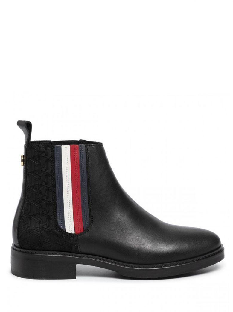 Tommy Hilfiger Black Sporty Monogram Flat Boots
