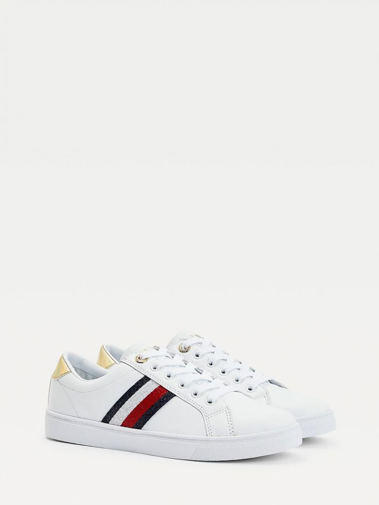 Tommy Hilfiger Ladies White Signature Tape Cupsole Trainers