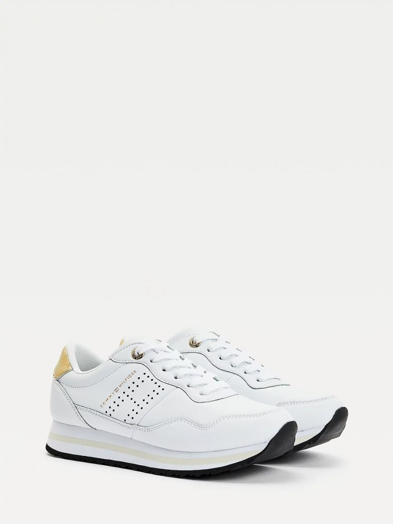 Tommy Hilfiger White Metallic Leather Trainers