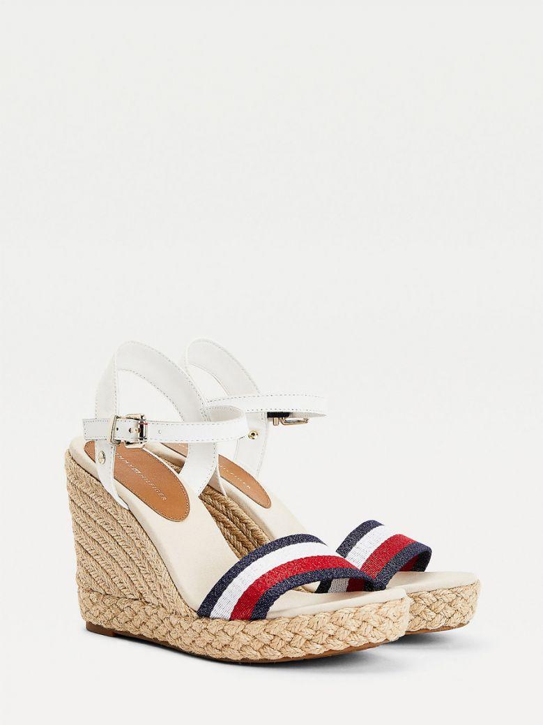 Tommy Hilfiger Ecru Shimmer Stripe Wedge Sandals