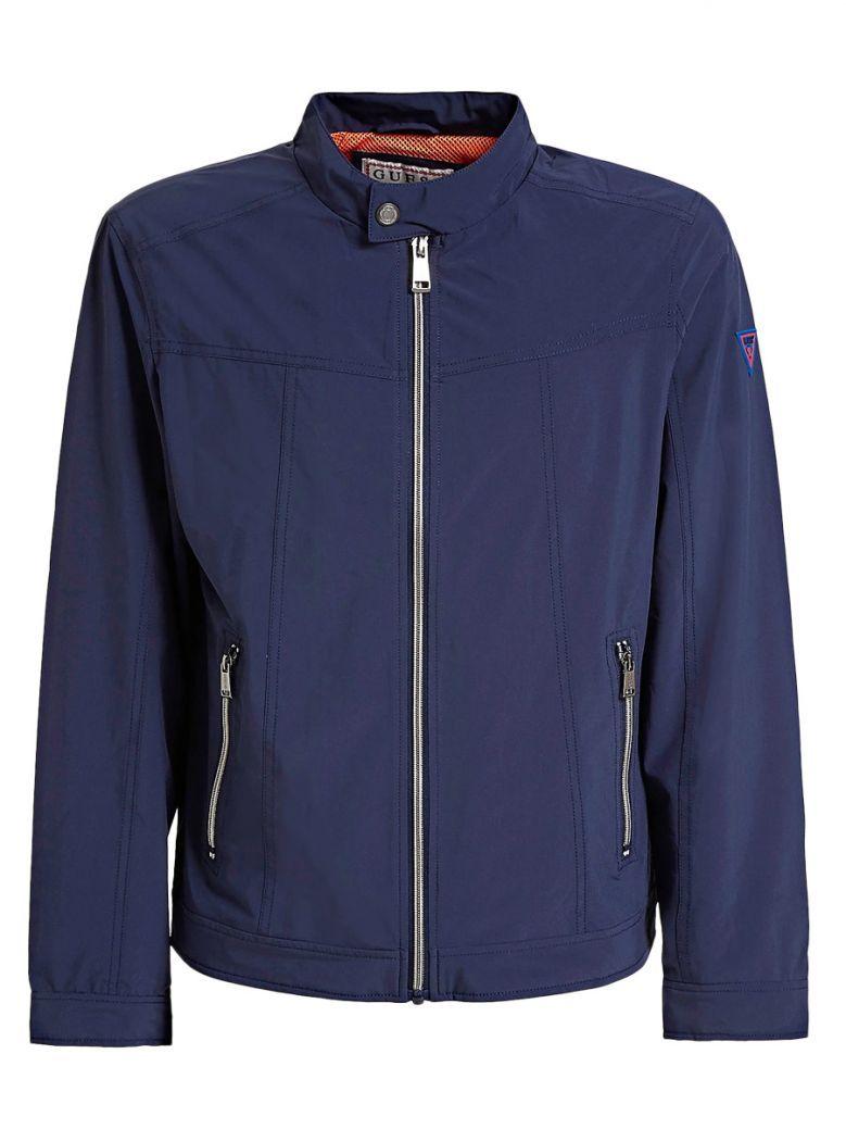 Guess Blue Zip-Up Slim Fit jacket