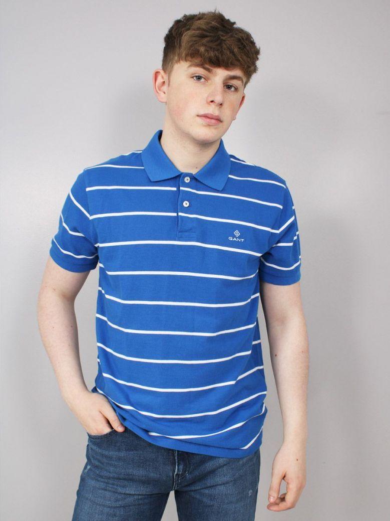 Gant Breton Stripe Pique Polo Top Blue