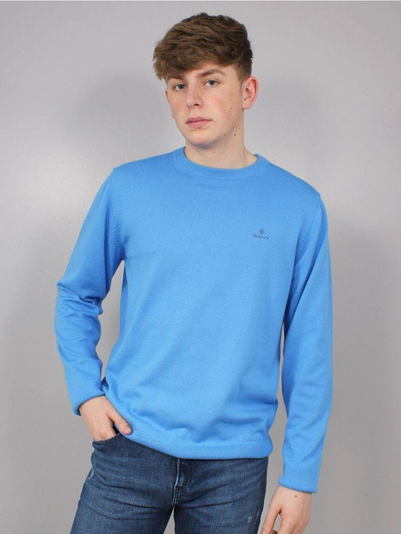 Gant Classic Cotton Crew Neck Sweater Blue