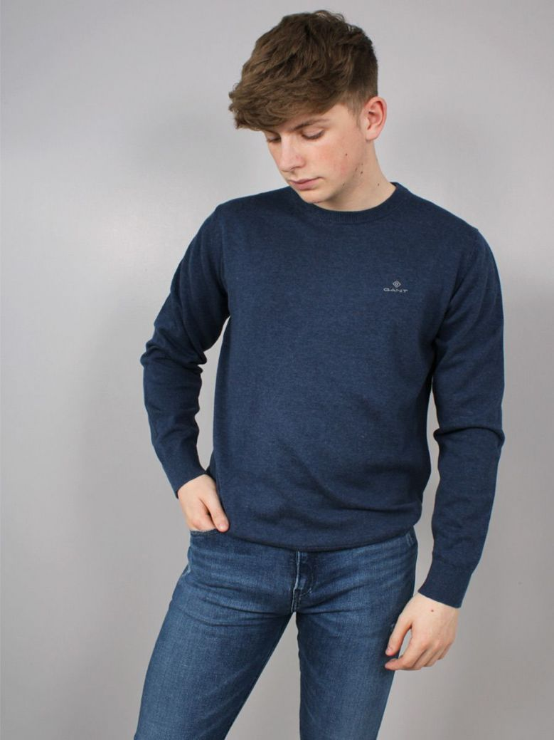 Gant Classic Cotton Crew Neck Sweater Navy