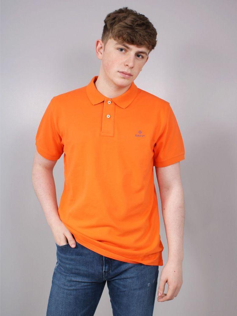 Gant Collar Pique Polo Shirt Orange