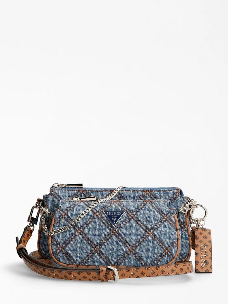 Guess Arie Denim Quilt Crossbody Bag