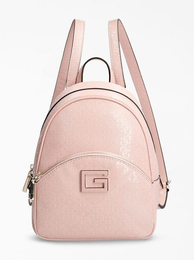 Guess Blane 4G Logo Patent Backpack Pink