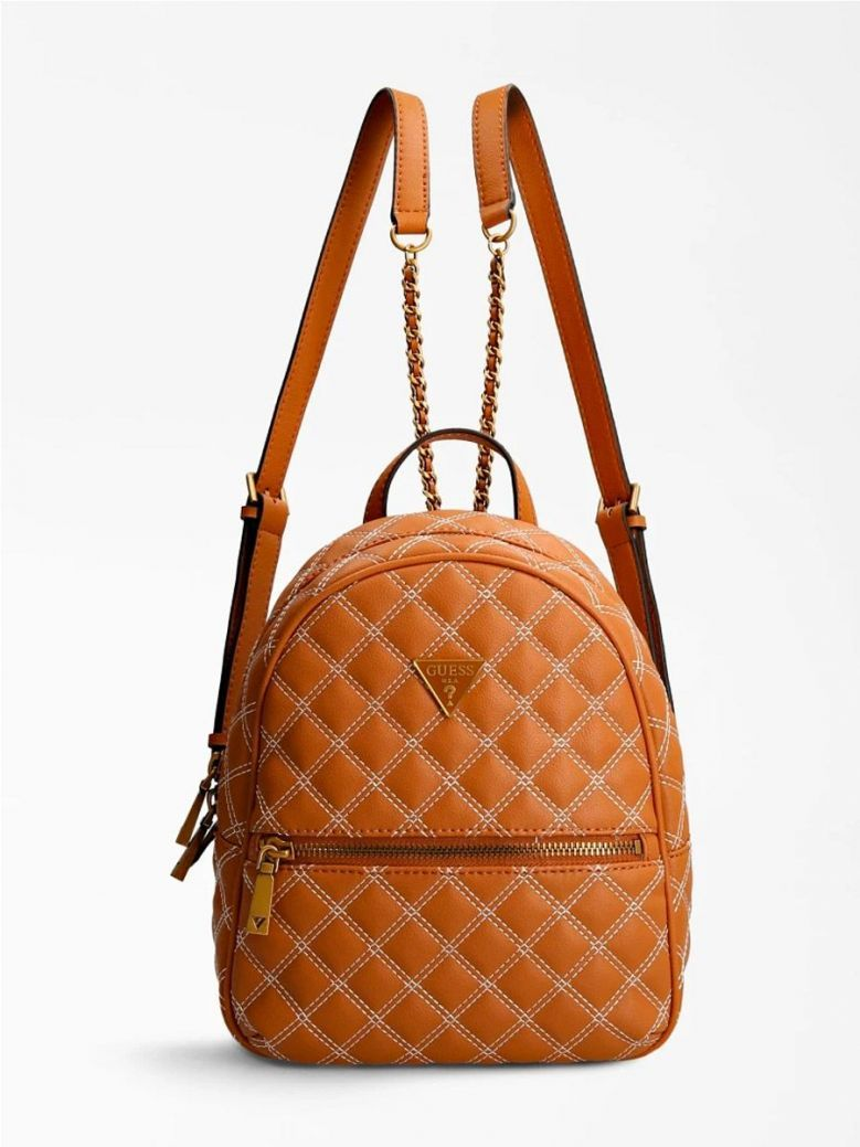 Guess Cessily Quilted Backpack Brown
