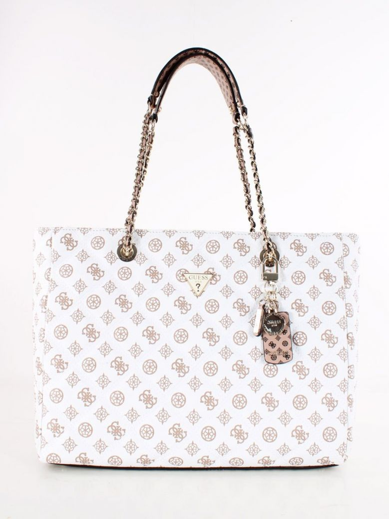 Guess Cessily Logo Quilted Shopper White Multi