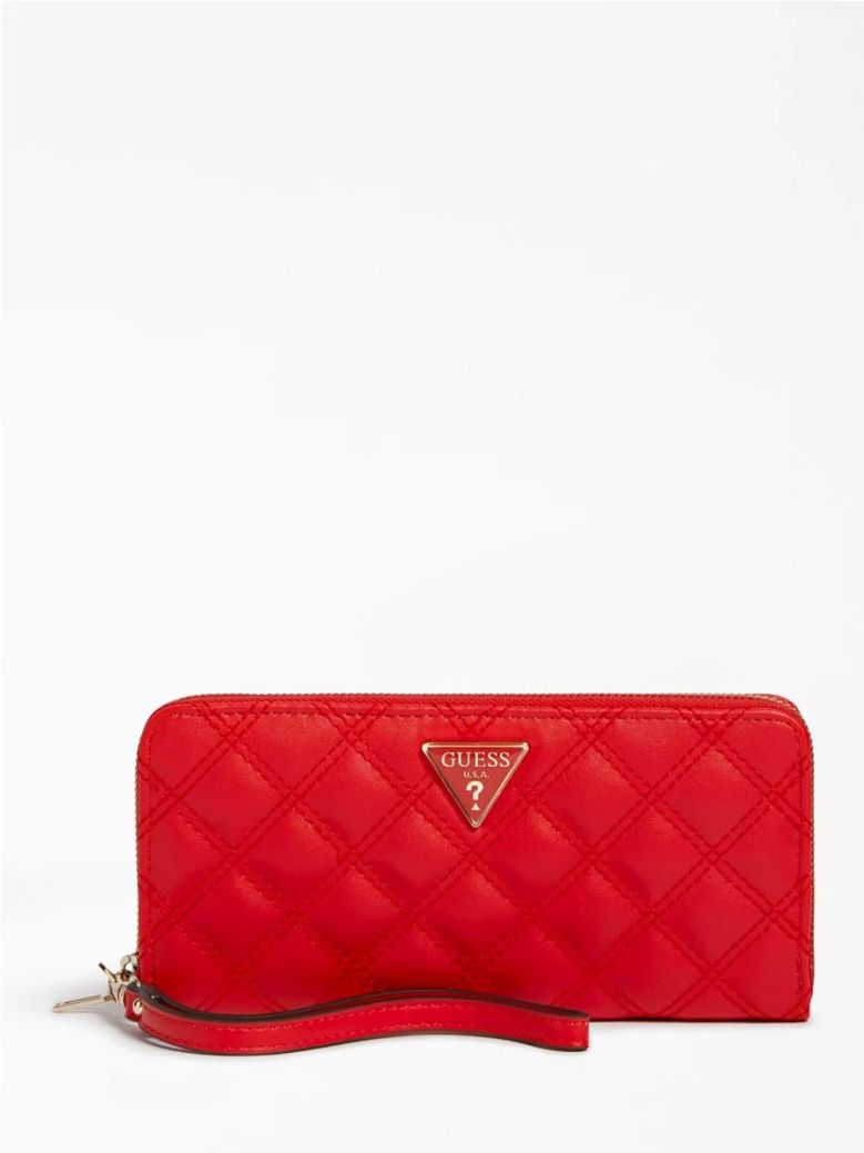 Guess Cessily Quilted Maxi Wallet Red