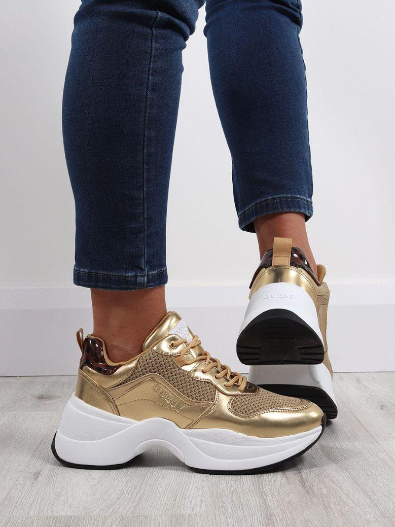 Guess Cheetah Print Sneaker Gold