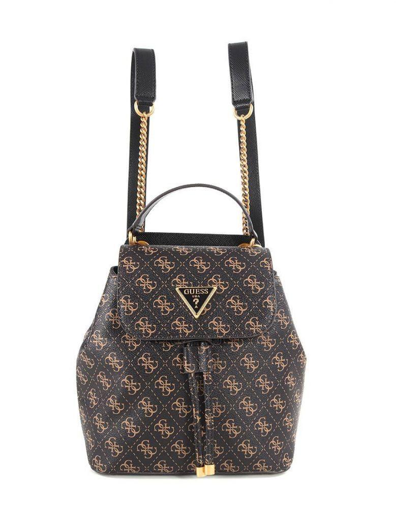 Guess Cordelia Logo Flap Backpack Brown