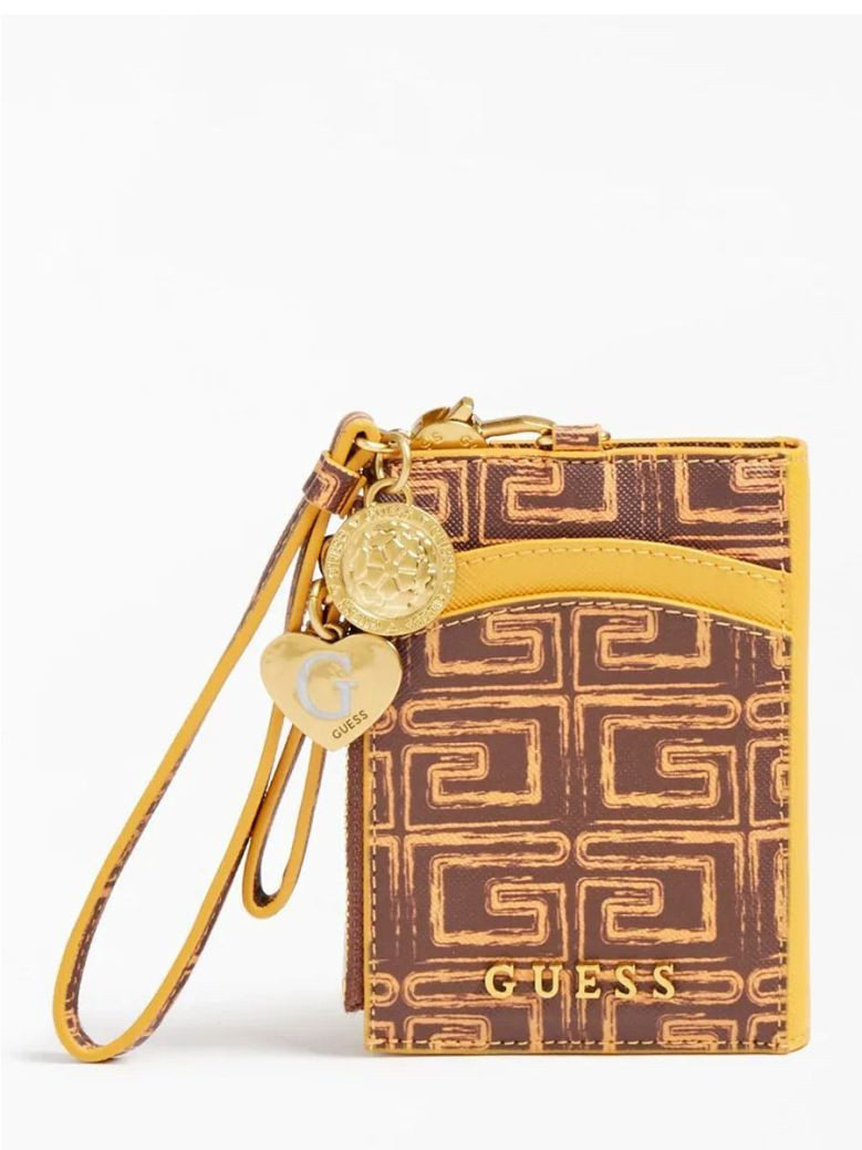 Guess Credit Card Case and Keyring Brown