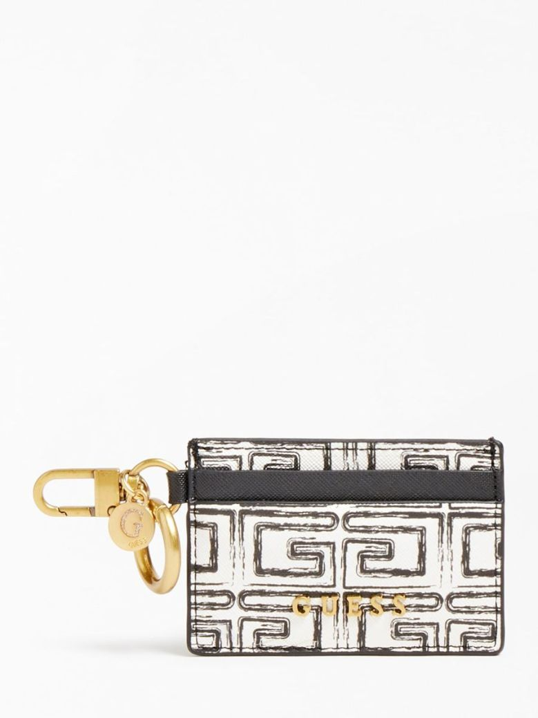 Guess Credit Card Case and Keyring Small White
