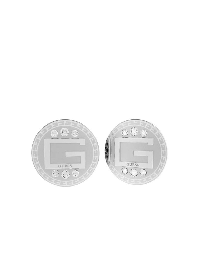 Guess G Solitaire Logo Studs Silver