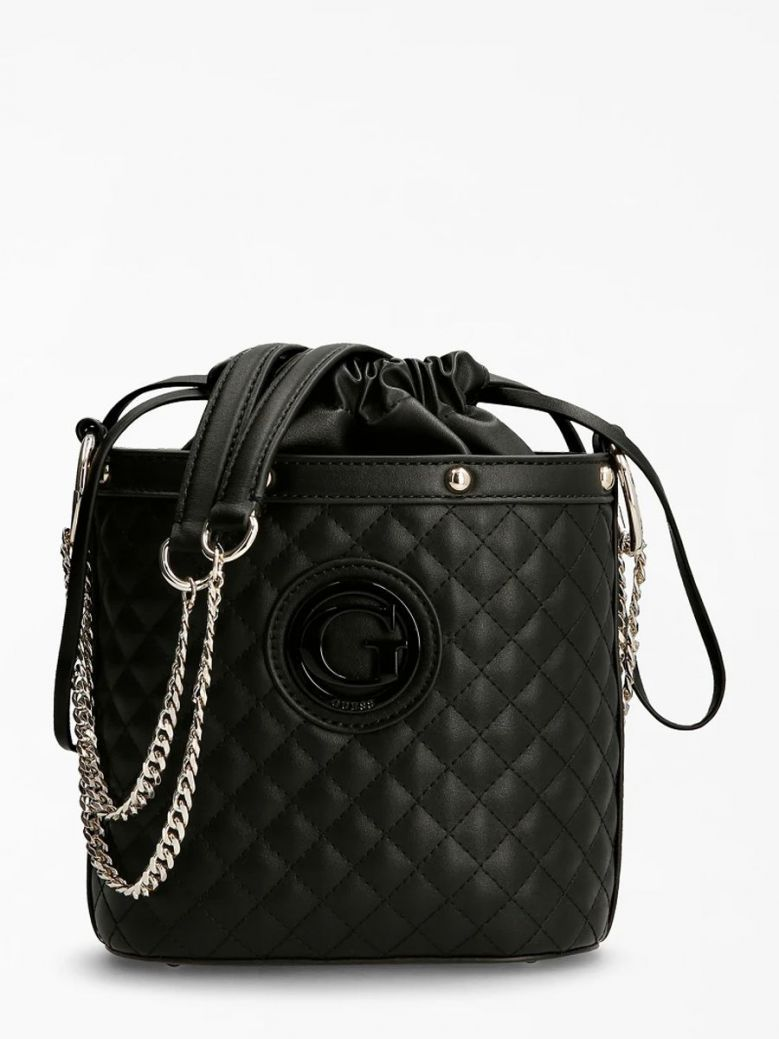 Guess Heyden Quilted Bucket Bag Black