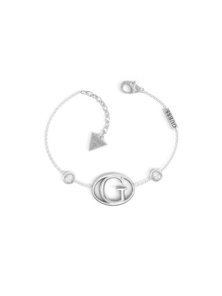 Guess Iconic G Logo and Crystal Silver Bracelet