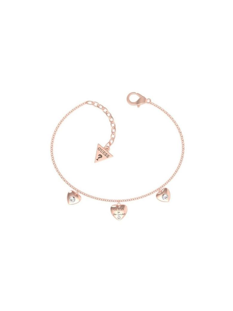 Guess Is For Lovers Triple Heart Charm Bracelet Rose Gold