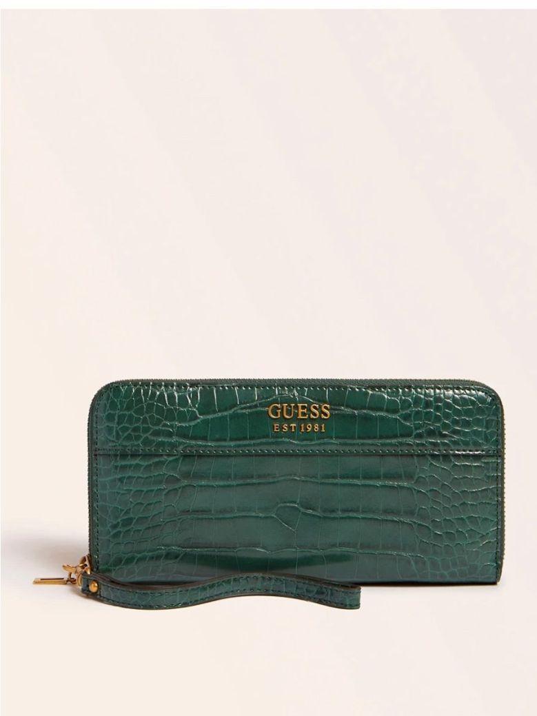 Guess Katey Croc Print Maxi Wallet Green
