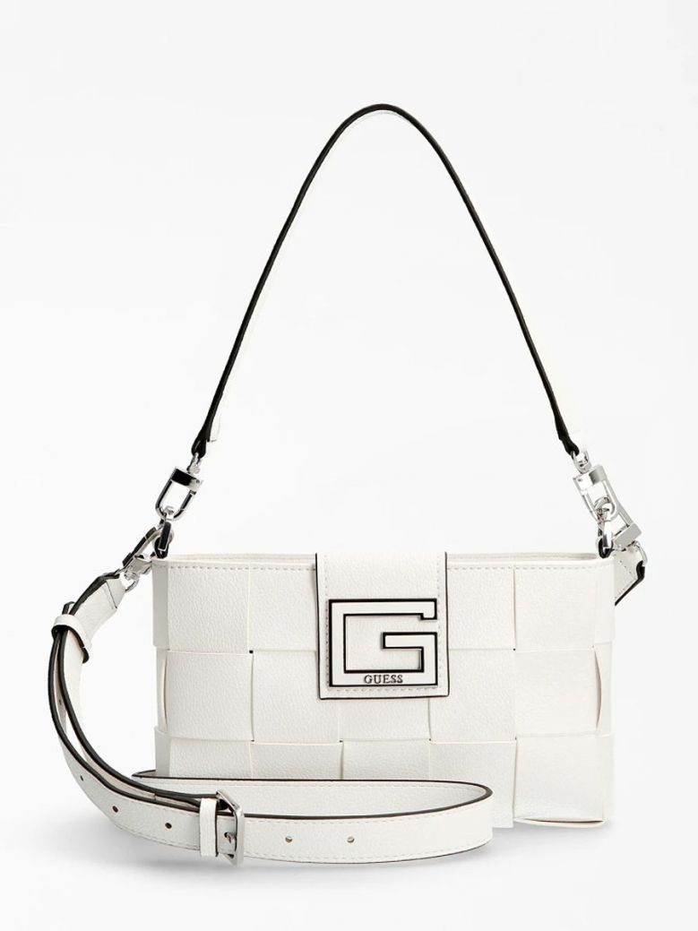 Guess Liberty City Braided Shoulder Bag White