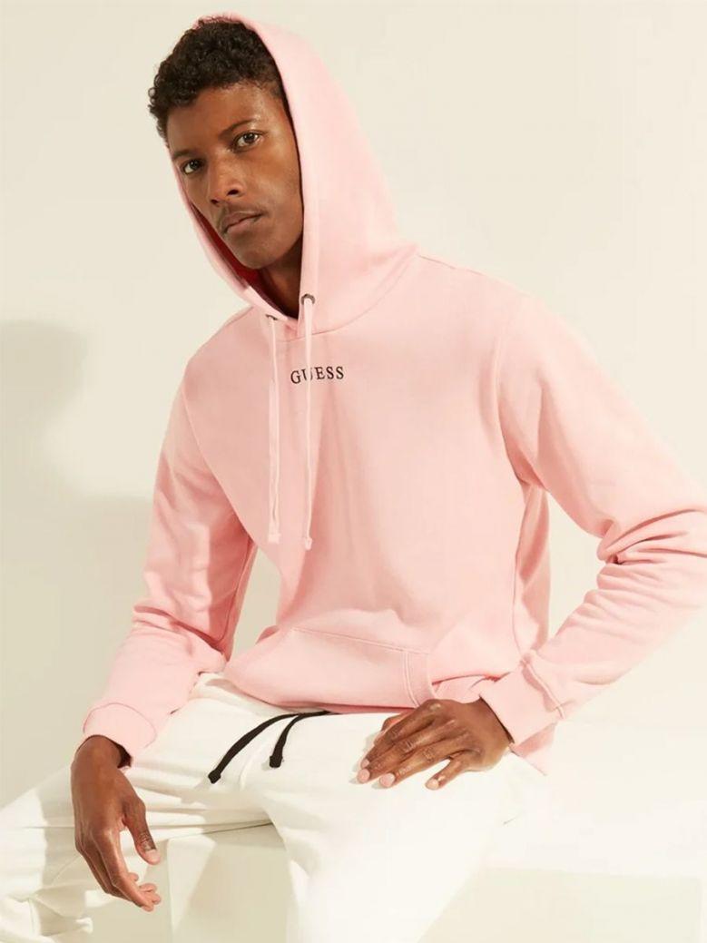 Guess Logo Hooded Sweatshirt Pink