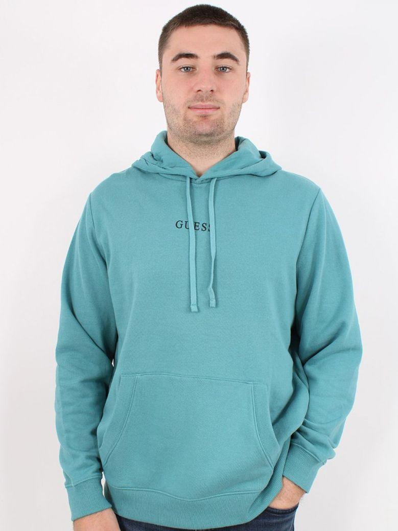 Guess Logo Hooded Sweatshirt Teal