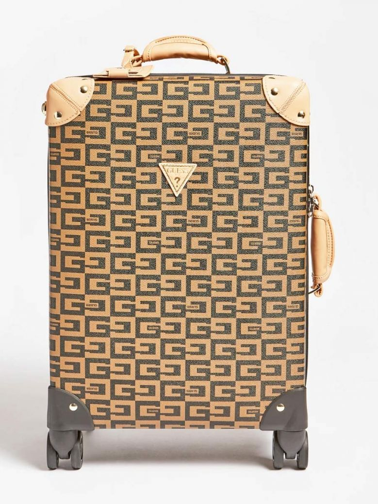 Guess Logo Lettering Print Suitcase Brown