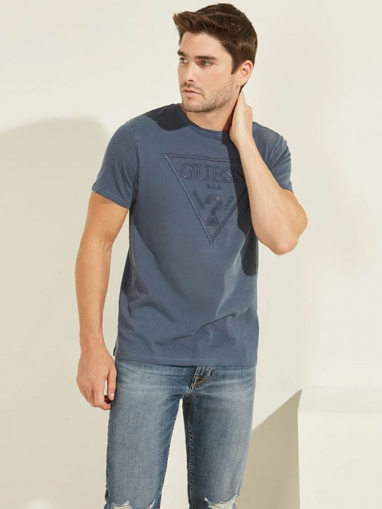 Guess Logo Triangle T-Shirt Blue